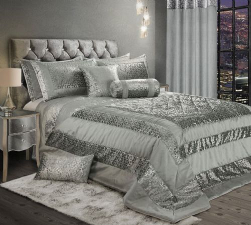 LUXURY EMBOSSED CRUSHED VELVET SHINY FOIL PRINT BEDSPREAD SET WITH PILLOWSHAMS GREY & SILVER